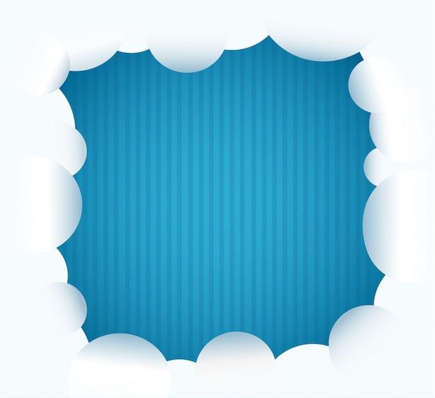 Nuvem e ilustração vetorial de fundo azul