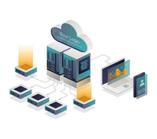 Nuvem e servidor isométrico