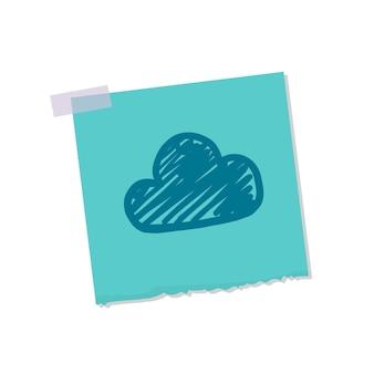 Nuvem, e, tempo, nota, ilustração
