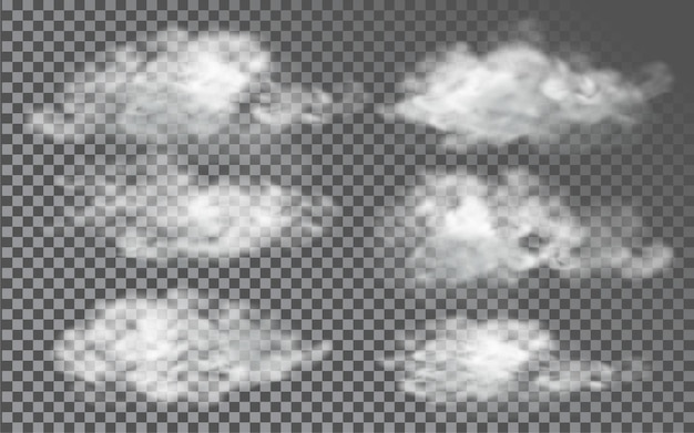 Nuvem em estilo realista em fundo transparente