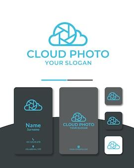 Nuvem foto logotipo design lente da câmera céu