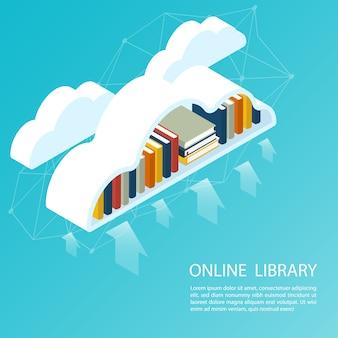 Nuvem isométrica de arquivo de biblioteca on-line, vetor de upload de ebook