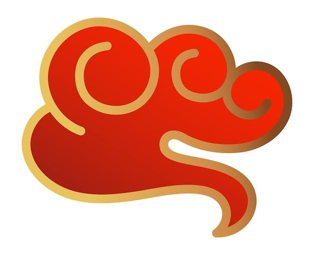 Nuvem japonesa. elemento de design de vento vermelho do japão