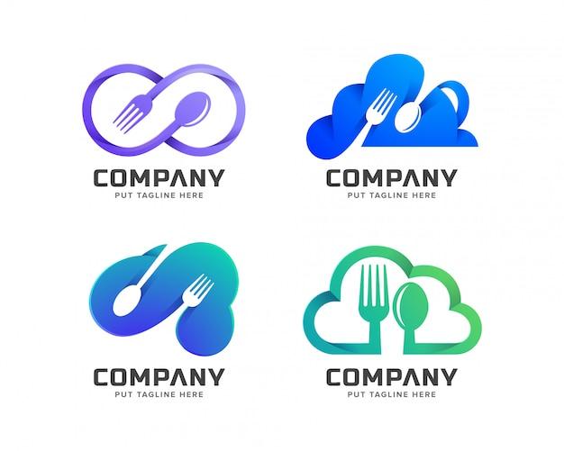 Nuvem restaurante logotipo modelo para empresa