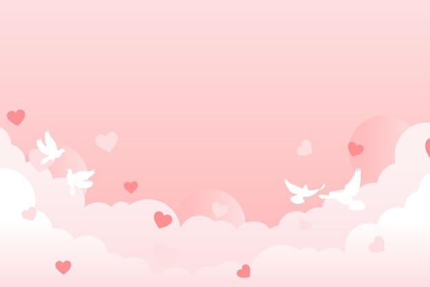 Nuvem rosa clara com ilustração vetorial de coração e pombo