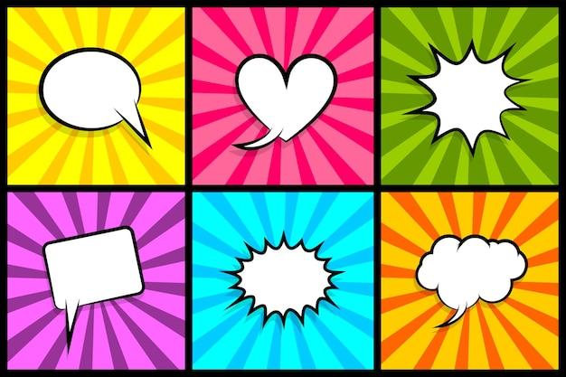 Nuvem vazia de diálogo colorido para texto em quadrinhos balão de fala conjunto nuvens de quadrinhos