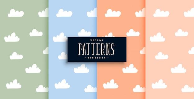 Nuvens bonitos padrão definido em tons pastel
