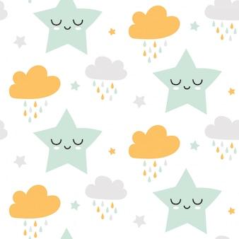 Nuvens bonitos sem costura e padrão de estrelas