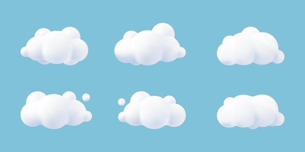 Nuvens brancas 3d realistas definidas isoladas em um fundo azul. processa o ícone de nuvens fofas dos desenhos animados redondos macios no céu azul. ilustração em vetor formas geométricas 3d