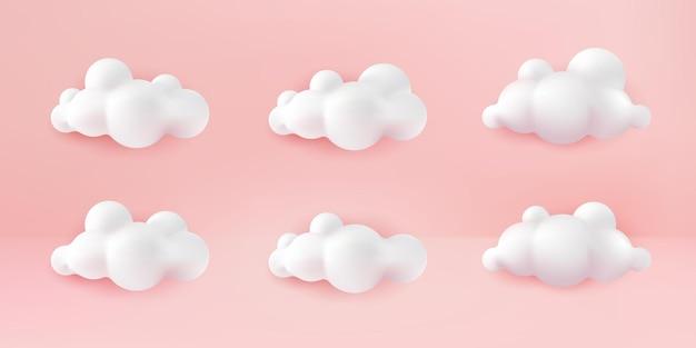 Nuvens brancas 3d realistas definidas isoladas em um fundo rosa pastel. renderiza o ícone de nuvens fofas dos desenhos animados redondos macios no céu rosa pastel. ilustração em vetor formas geométricas 3d