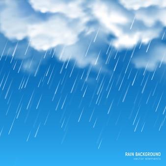 Nuvens brancas densas iluminadas pelo sol, produzindo chuva torrencial contra o fundo do céu azul
