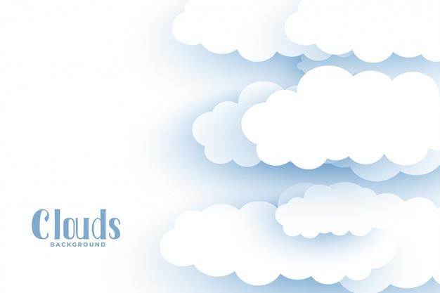 Nuvens brancas fundo no design de estilo 3d