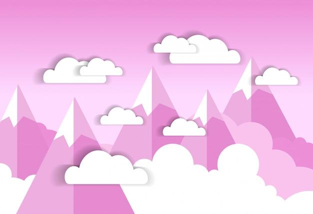 Nuvens brancas sobre céu rosa e montanhas de silhueta
