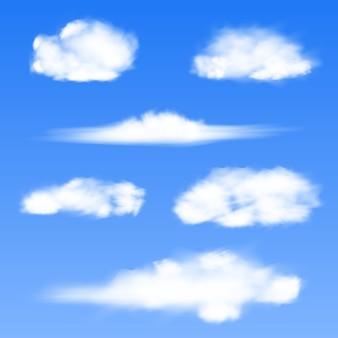 Nuvens brancas sobre um fundo azul.