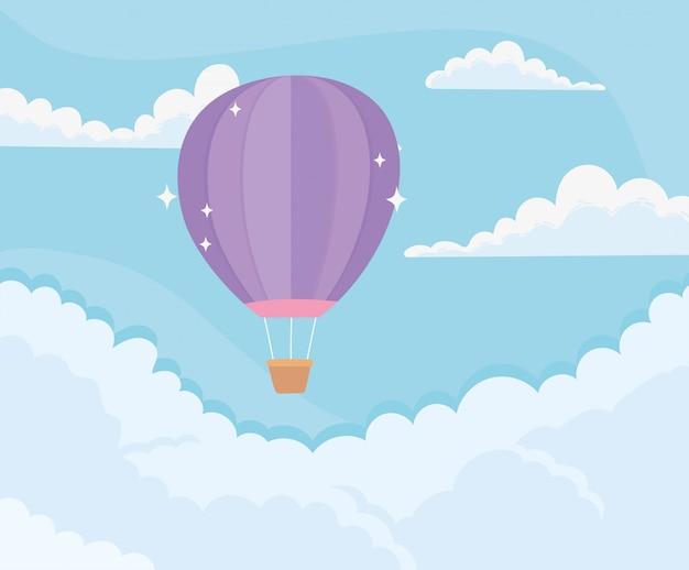 Nuvens brilhantes em balão de ar quente