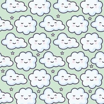 Nuvens céu clima kawaii personagens padrão