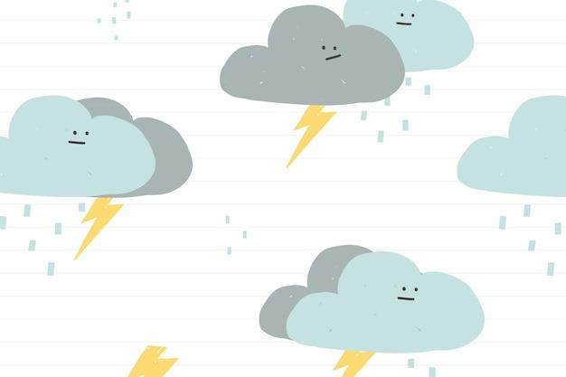 Nuvens chuvosas sem costura padrão fofo doodle fundo para crianças