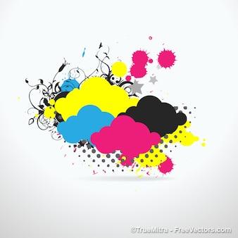 Nuvens coloridas com respingos de tinta