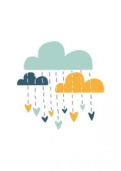 Nuvens coloridas, ilustração vetorial
