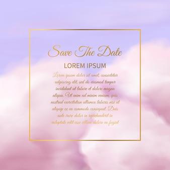 Nuvens cor de rosa. textura delicada de nuvem rosa de algodão de açúcar fofo, fundo de céu glamour com moldura quadrada dourada e espaço de cópia de texto modelo de cartão de convite de casamento elegante design de papel de parede de fantasia vetorial