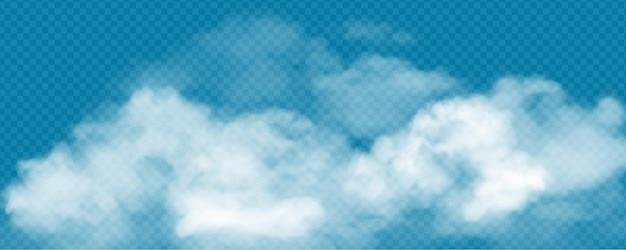 Nuvens cúmulos brancas realistas em fundo transparente