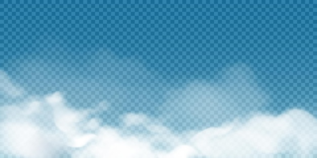 Nuvens cumulus brancas realistas sobre fundo transparente.