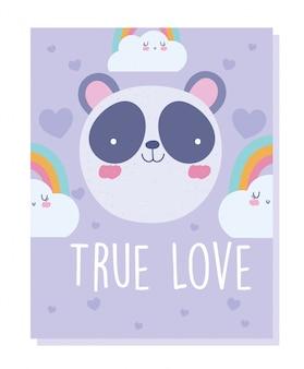 Nuvens de arco-íris de rosto de panda cartum personagem animal bonito