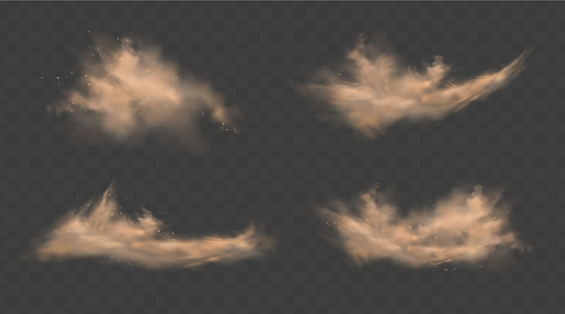 Nuvens de areia poeira conjunto com pedras e partículas empoeiradas voadoras isoladas