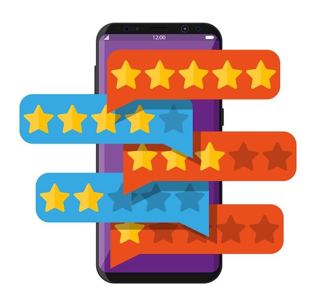 Nuvens de bate-papo com estrelas douradas na tela do smartphone