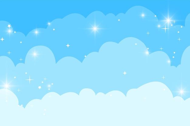 Nuvens de bonito dos desenhos animados e céu com fundo de estrelas. ilustração vetorial eps10