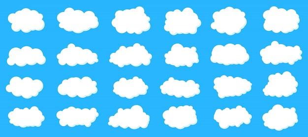 Nuvens de céu fofo definido.