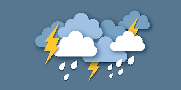 Nuvens de chuva e relâmpago. tempo de corte de papel. hora da tempestade. gotas de chuva e trovões. .