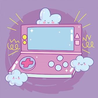 Nuvens de console portátil de videogame cartoon dispositivo de dispositivo de entretenimento dos desenhos animados eletrônicos
