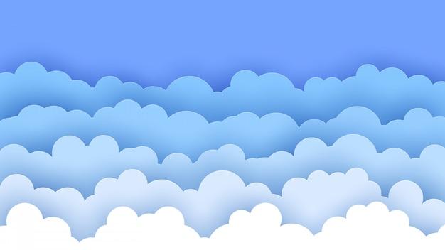Nuvens de corte de papel. céu azul.
