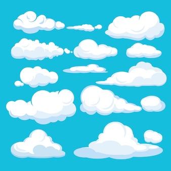 Nuvens de desenho animado. cloudscape aérea do céu azul nuvens azuis diferentes formas e formas ilustrações
