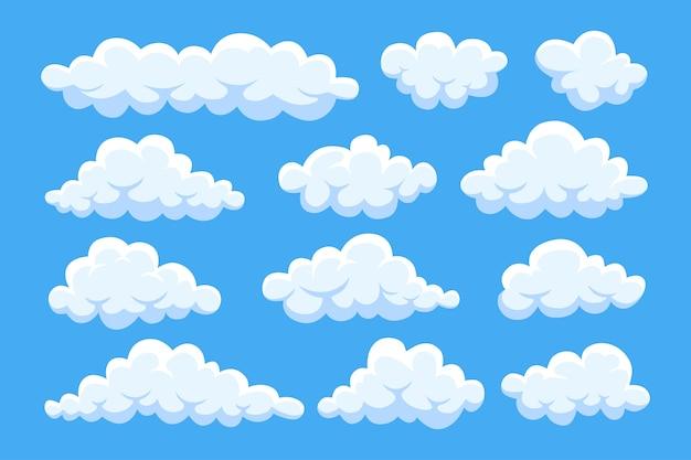 Nuvens de desenho animado no céu azul. cloudscape em segundo plano. céu.