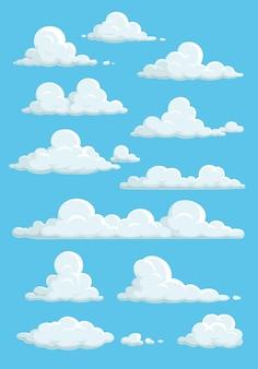 Nuvens de desenho animado no céu azul