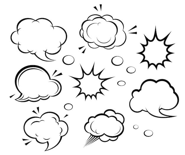Nuvens de desenhos animados e explosões
