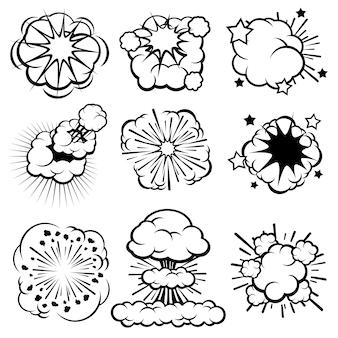 Nuvens de explosão cartoon retrô, conjunto de anéis de fumaça em quadrinhos