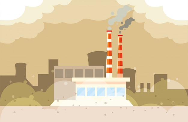 Nuvens de fumaça industriais, poluição ambiental industrial