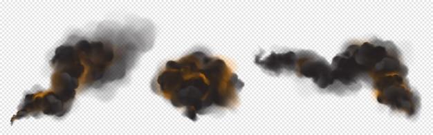 Nuvens de fumaça preta com luz de fundo laranja do fogo.