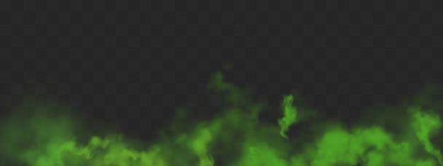 Nuvens de fumaça verde com mau cheiro ou vapor tóxico