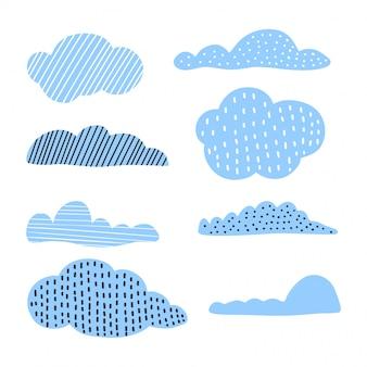 Nuvens de giro mão desenhada