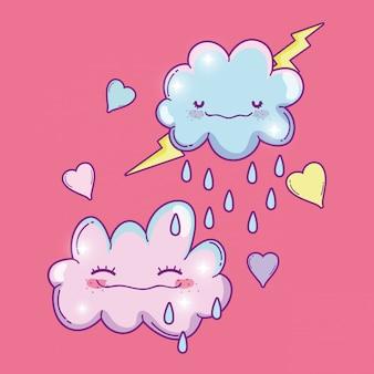 Nuvens de kawaii fofo chovendo com trovão
