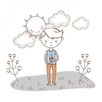 Nuvens de natureza de roupa elegante menino dos desenhos animados