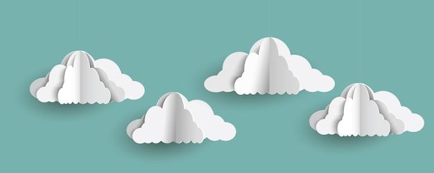 Nuvens de origami em estilo de arte de papel no céu azul