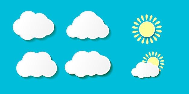 Nuvens de papel de desenho animado com o pôr do sol