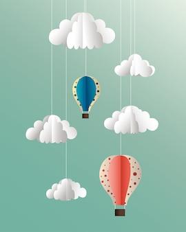 Nuvens de papel de vetor e ilustração de balões