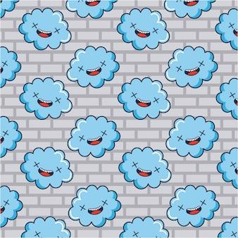 Nuvens doodle padrão