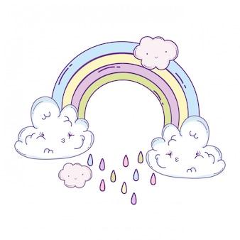 Nuvens e desenhos animados de arco-íris